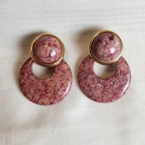 Pink Marble Gold Tone Hoop Earrings